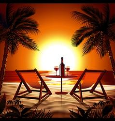 Beach at sunset vector