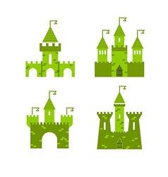 Castle set Castle tower logo Castle turret with vector image