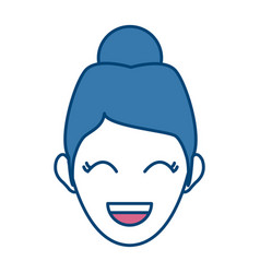 character woman head laughing person image vector image
