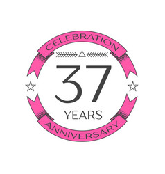 thirty seven years anniversary celebration logo vector image