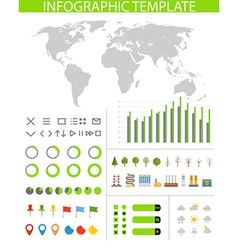 Infographics Earth map and different charts and vector image vector image