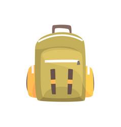 khaki backpack classic styled rucksack vector image
