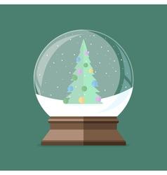 Snow globe with christmas tree inside flat vector