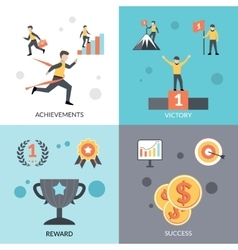 Success Flat Set vector image vector image