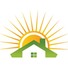 house and shiny sun vector image vector image