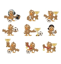 Set owl bird soccer Win in football championship vector image