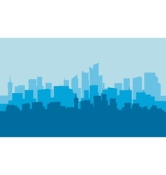 Silhouette of city with blue background vector