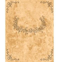 Vintage floral frame on old paper sheet vector image vector image