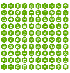 100 loans icons hexagon green vector