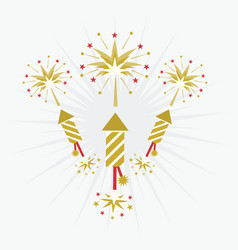 abstract golden and red rocket firework on white vector image