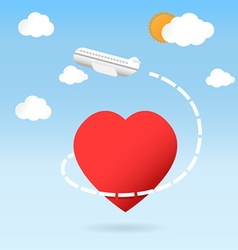airplane fly around the red heart shape vector image