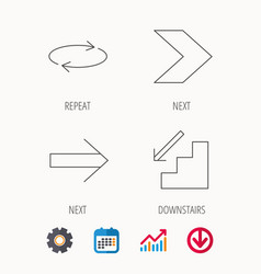Arrows icons downstairs repeat linear signs vector