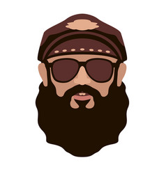 biker face flat style front vector image