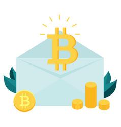 bitcoin inside the envelope piles of bitcoins vector image