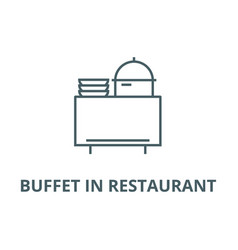 Buffet in restaurant line icon buffet in vector