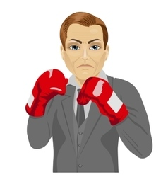 Business man ready to fight with boxing gloves vector image