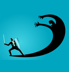 Businessman as a knight fighting his own shadow vector