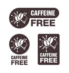Caffeine free sticker in 3 versions vector