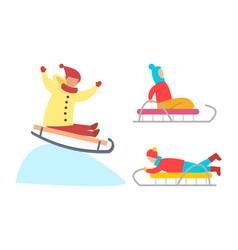 children sledding down snowy ice slopes vector image