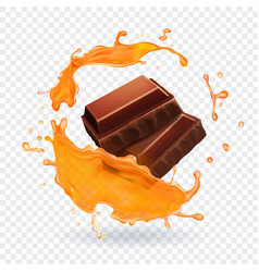 chocolate in caramel splash realistic vector image