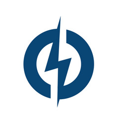 circle lightning bolt logo design vector image