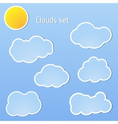 Clouds set and sun vector