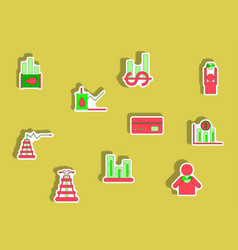 Collection of icons in paper sticker style vector