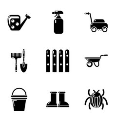 Cottage in country icons set simple style vector