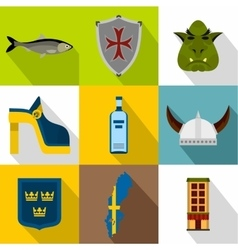 Country of Vikings icons set flat style vector