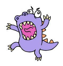 Crazy purple cartoon dinosaur vector