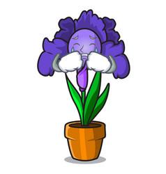 Crying iris flower mascot cartoon vector
