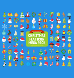 Cute christmas graphic flat icon mega pack vector
