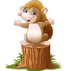Cute hedgehog cartoon on the tree log vector
