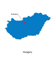 detailed map hungary and capital city budapest vector image