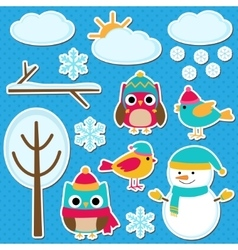 Different winter elements vector image
