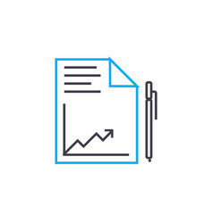 drawing up reports linear icon concept drawing up vector image