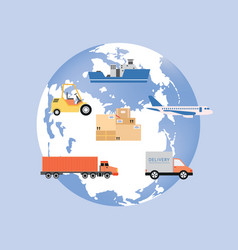 earth globe symbol with icons transport flat vector image