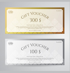 Elegant gift voucher or gift card in gold silver vector