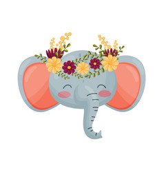 Elephant head with flower wreath flora and fauna vector