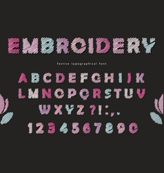 embroidery font design cute abc letters and vector image