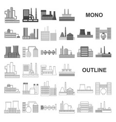 factory and facilities monochrom icons in set vector image