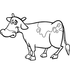 farm cow cartoon for coloring book vector image