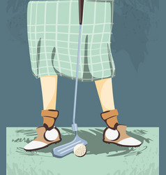 female golfer feet on golf course vector image