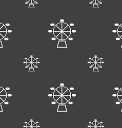 Ferris wheel icon sign Seamless pattern on a gray vector