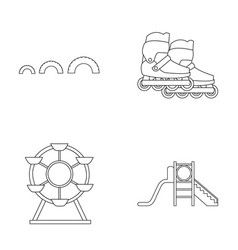 Ferris wheel with ladder scooter playground set vector