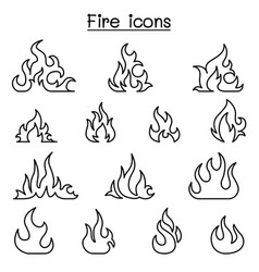 fire icon set in thin line style vector image