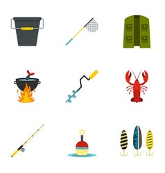 fishing tackles icons set flat style vector image