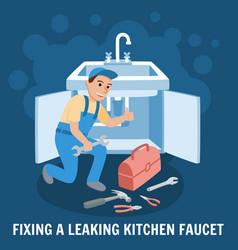 Fixing leaking kitchen faucet vector