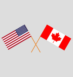 flags of usa and canada vector image