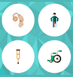 Flat icon handicapped set of equipment stand vector